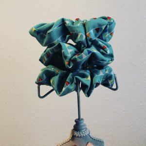 CHOUCHOU bleu turquoise à motifs
